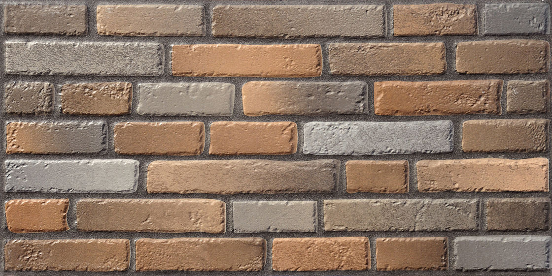 Brick Matt Brown / Gray 600 X 300 Bathroom Wall Tiles Outdoor Trendy   Rough Suface Cultured